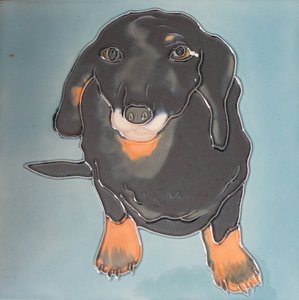 Black Daschund Decorative Ceramic Wall Art Tile 6x6