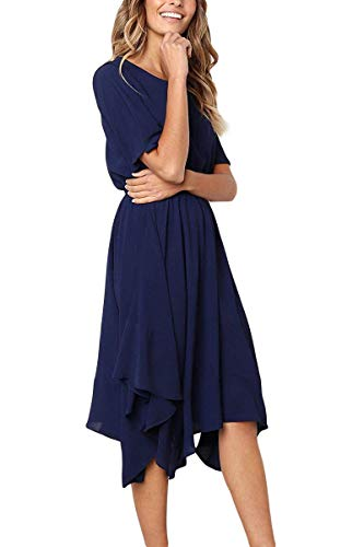 Alaster Queen Women's Chiffon Short Sleeve Casual Midi Dress Empire Waist Irregular Hem Summer Dress ... ... (Dark Blue, X-Large)