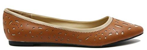 Shoes Comfortable Layerd Tan Point Women's Double Flat Pumps Walstar Toe Yv46q5wx