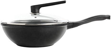 XH&XH Casserole résistante à l'usure Wok Multi Purpose Pot 30Cm à Fond Plat Poêle antiadhésive à Faible fumée pour cuisinière à gaz à Induction à feu Direct (avec Couvercle)