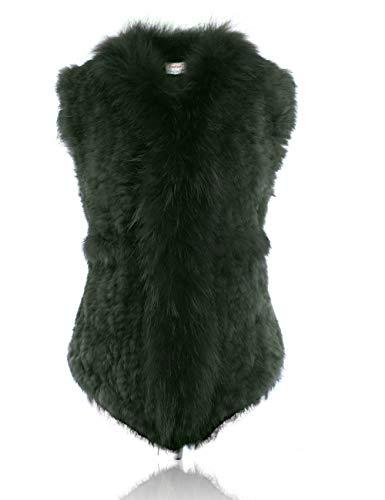 HEIZZI Genuine Rabbit Fur Vest with Pocket Viridian ()
