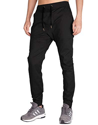 (ITALY MORN Men's Chino Jogger Pant (XS, Black))