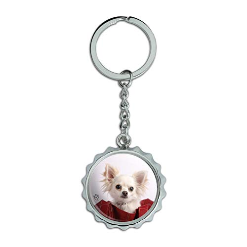 Chihuahua Puppy Dog in Handbag Chrome Plated Metal Pop Cap Bottle Opener Keychain Key Ring
