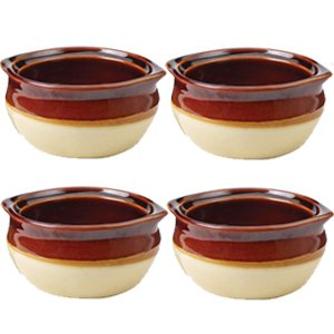 Porcelain Ceramic Onion Soup Crock Bowl, Small 10 Ounce, Set