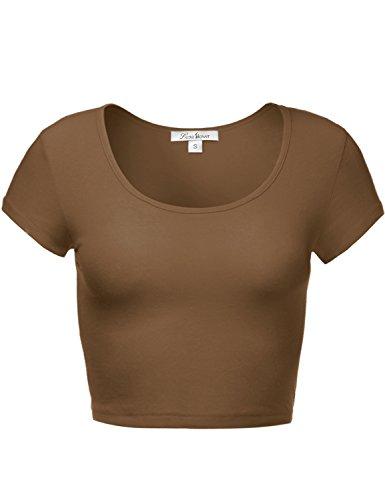 Cute Soft Slim Fitted Short Sleeve Scoop Neck Crop Tops 097-Mocha US L