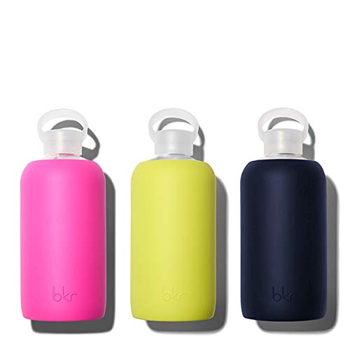 bkr Gigi Glass Water Bottle with Smooth Silicone Sleeve for Travel, Narrow Mouth, BPA-Free & Dishwasher Safe, Opaque Lime Yellow, 1 Count by bkr (Image #5)