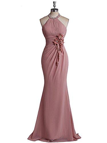 Dreagel Robes De Bal En Mousseline De Soie Licol Sirène Robe De Demoiselle D'honneur Du Soir Avec Des Fleurs Rose Poussiéreuse