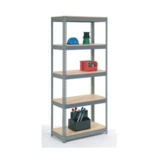Nexel Industries RLX445 24 x 48 x 60 in. 4 Shelf Wood Deck Rivet Lock Shelving Unit (Rivet Shelving Decks)