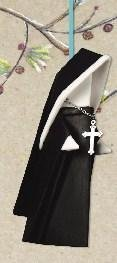 Christmas Porcelain Origami Nun Ornament with Cross, 3.75 Inches, Black and White, Black and White, 3.75 -