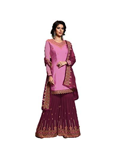 Laxminarayan Women Bollywood Designer Indian Pakistani Satin Georgette Ethnic Wear Sharara Style Salwar Suit (Small, Pink)