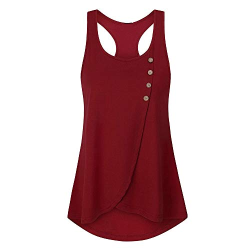 Sunhusing Women's Solid Color Sleeveless Vest Camisole Ladies Side Button-Down Tank Top Shirt Red