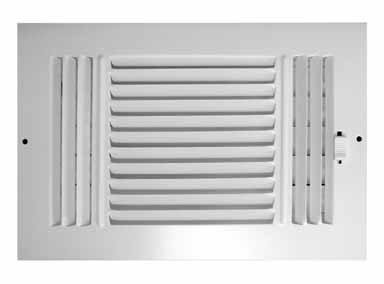 Truaire C103M 10X06(Duct Opening Measurements) 3-Way Supply 10 6-Inch Sidewall or Ceiling Register Grille, White, Inch x 6-Inch, Powder Coated (Ceiling Register Grille)