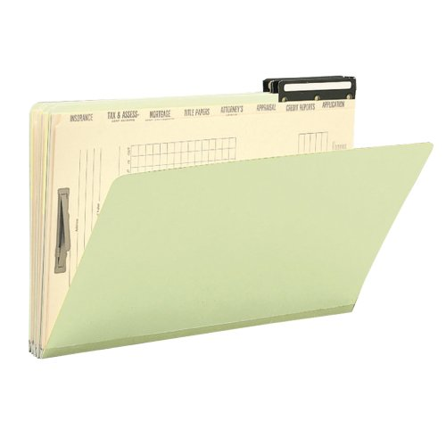 Metal Tab Pressboard File Cut (Smead Pressboard Mortgage Folder and Indexed Divider Set, Flat Metal 2/5-Cut Right Position Tab, Guide Height, Legal Size, Gray/Green, 10 per Box (78208))