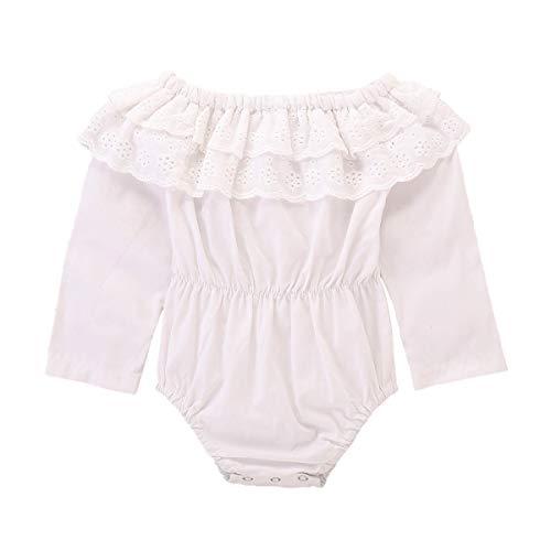 ffle Romper   Long Sleeve Lotus Bodysuit Lace Onesie Cotton Jumpsuit (6-12 M, White) ()