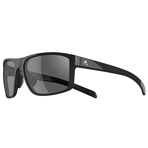 adidas Mens Whipstart a423 6050 Rectangular Sunglasses, Black Shiny, 61 mm