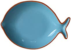 Euro Ceramica Pescador Collection 12.2\  Terra Cotta Fish-Shaped Platter Turquoise  sc 1 st  Amazon.com : plastic fish plates - pezcame.com