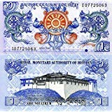 Nice1159 1 Banknote Bhutan-World Paper Money UNC Currency p-27a Dragons, Genuine Rare, Suitable for Collector ()