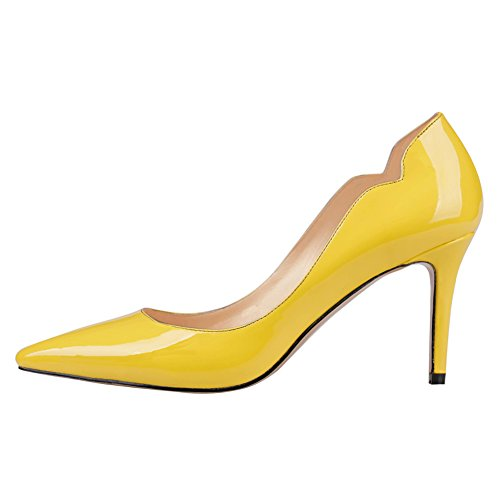 June in Love Women's Middle Heels Shoes Pointy Toe for Daily Usual Girls Lady Pumps 5-Yellow11 US