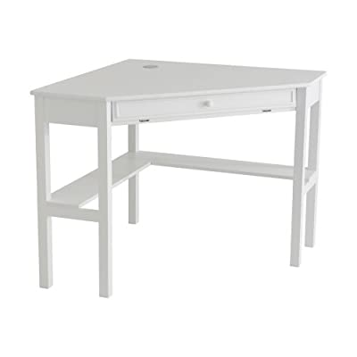 Southern Enterprises Corner Computer Desk - White - Painted White Finish; Product Dimensions 32.5 x 48 x 30 inches; California Proposition 65 warning Yes; Assembled Height 30 inches; Assembled Width 32.2 inches; Assembled Length 48 inches; Weight 52 Pounds Slide out keyboard tray Cord management - writing-desks, living-room-furniture, living-room - 31Sy83SeMZL. SS400  -