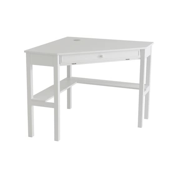 Southern Enterprises Corner Computer Desk - White - Painted White Finish; Product Dimensions 32.5 x 48 x 30 inches; California Proposition 65 warning Yes; Assembled Height 30 inches; Assembled Width 32.2 inches; Assembled Length 48 inches; Weight 52 Pounds Slide out keyboard tray Cord management - writing-desks, living-room-furniture, living-room - 31Sy83SeMZL. SS570  -