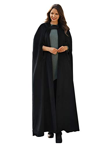 Syktkmx Womens Hooded Long Trench Coat Cosplay Robe Cloak Costume Cape Outwear (Large, Black)