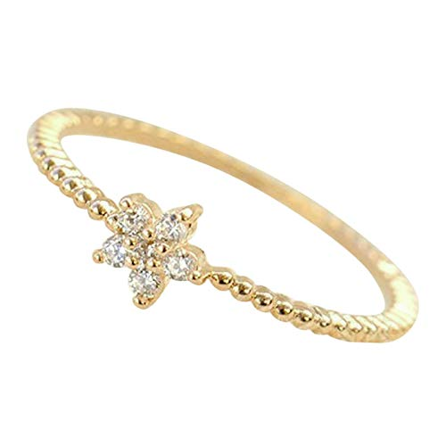 - Gieschen Jewelers 'Anabella' 14K Yellow Gold-Plated Dainty Cute Star CZ Ring, Size 7