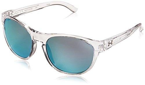 Under Armour UA Glimpse RL Round Sunglasses, UA Glimpse RL Gloss Crystal Clear/Blue Lens, M/L