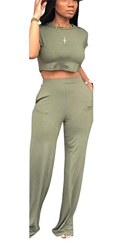 Flare Set - Women's Casual Crop Top and Flare Long Pants Set Two Piece Romper Jumpsuts Office Work Pockets