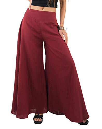 Tropic Bliss Women's Wide Leg Organic Cotton Palazzo Pants in Red, M