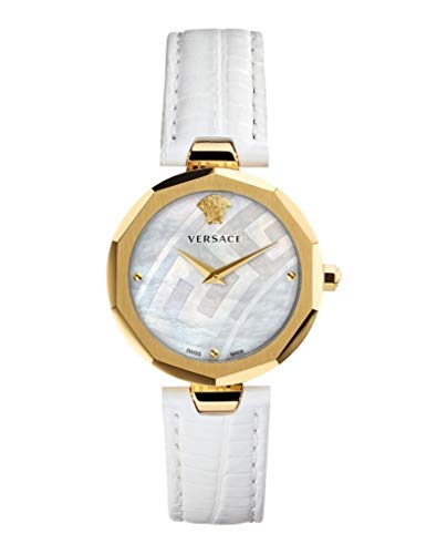 Versace Women's IDYIA Steel and 14K Gold Swiss-Quartz Watch with Leather Calfskin Strap, White, 16 (Model: V17050017)
