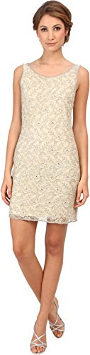 Adrianna Papell Women's Beaded Short Dress Champagne Dress 8