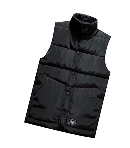 Zimaes-Men Down Jacket Winter Mandarin Collar Solid Vest Waistcoat Black L