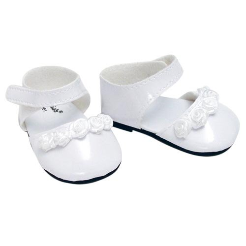 18 Inch Doll Dress Shoes fit for American Girl Dolls in White Patent Leather and Satin Rose Ribbon Trim, White Doll Dress Shoes (Patent Ribbon)