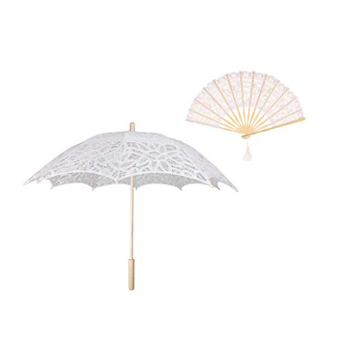 SM SunniMix Lace Flower Vintage Umbrella Lace Bamboo Hand Fan Set Wedding Photo Stage Dancing Props White