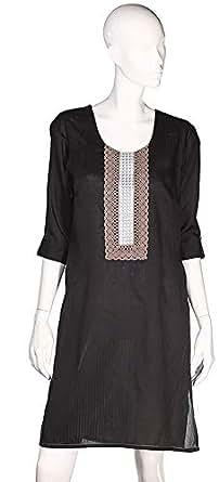 Sana'A Kayum Women'S Short Kurta Black Skca-101021