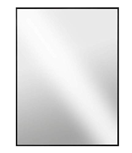 Raphael Rozen - Modern Hanging Framed Wall Mounted Metal Mirror, (26x30, Black Glossed Aluminum)