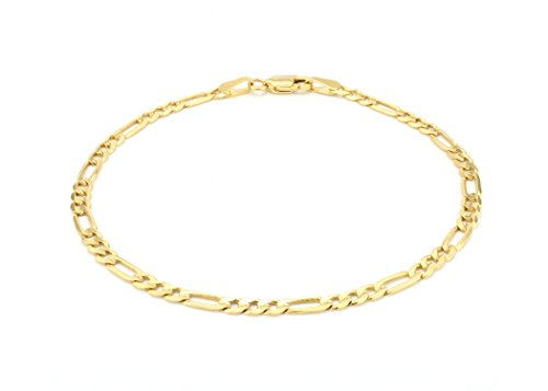 14K Yellow Gold 3.5mm Figaro Link Chain Bracelet- Made In Italy- Multiple Lengths Available (8) ()