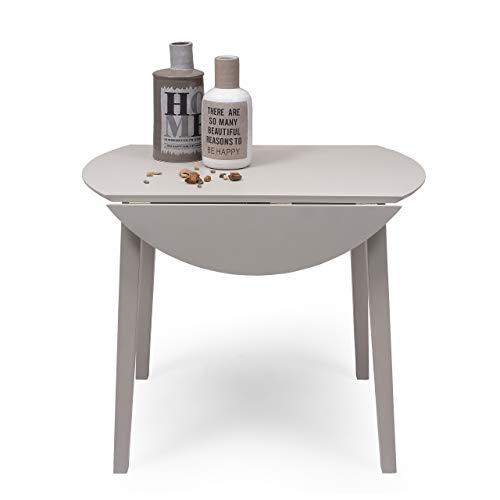 Mesa de Comedor o Cocina Redonda Extensible Dallas de 90 cm de diametro (17,5/55 / 17,5 cm) Madera lacada Color Gris