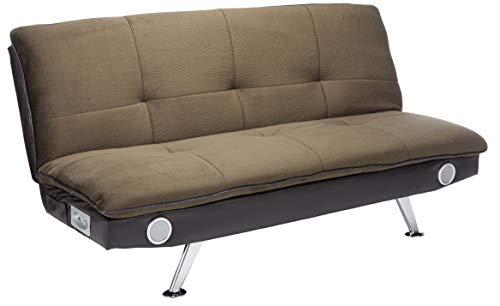 Sofa Bed with Built-In Bluetooth Speakers Brown