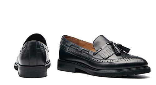 black Borlas Sin Mujer Perforados Vintage Para De joymod Clásicos Cómodos Mgm Cordones Casuales Con Piel Style1 Zapatos 07Aqa