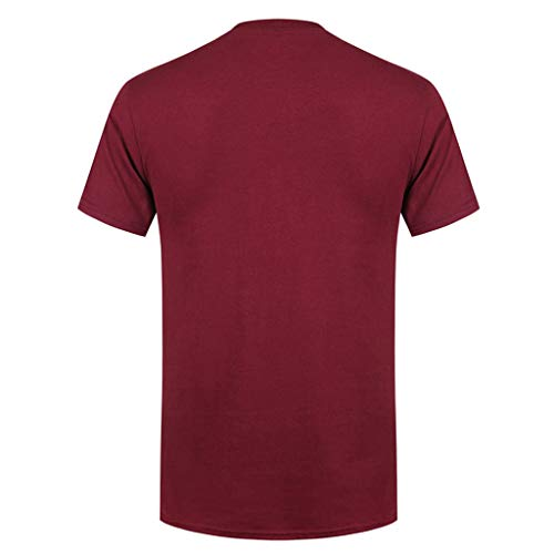 luckygirls neck Rouge Printemps O Vente Vin Coton Courtes T Hommes Impression ❤️meilleure Casual Manches En Mode shirt 58Fxwq8g