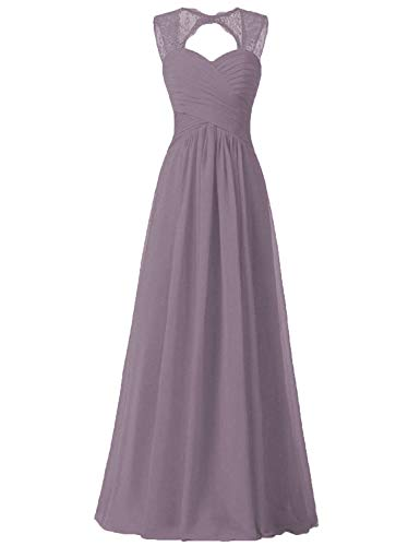 (Dusty Thistle Bridesmaid Dresses Illusion Lace Strap Corset Back for Women)