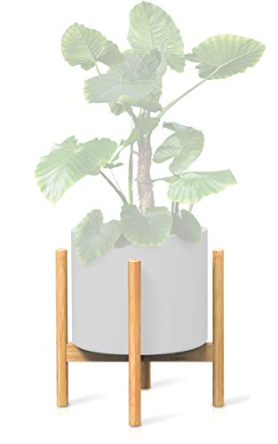Ecbanli 12 Inch Bamboo Plant Stand, Mid-Century Modern Planter Holder (Plant and Pot Not ()