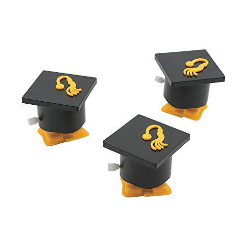 Fun Express - Mortar Board Wind-up for Graduation - Toys - Character Toys - Wind Ups & Paratroopers - Graduation - 12 Pieces