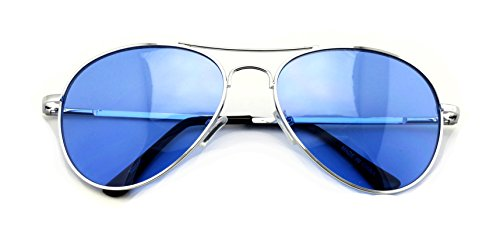 VW Eyewear - Colorful Silver Metal Aviator With Color Lens Sunglasses (Blue - Sunglasses Blue Lense