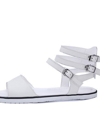 ShangYi Womens Shoes Flat Heel Peep Toe Sandals Outdoor / Dress / Casual White White