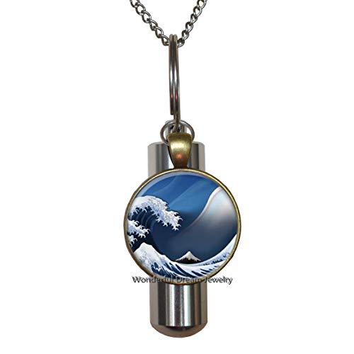 Art URN,Waves of Blue Glass Charm URN,Handmade Cremation URN Necklace,Ocean Wave URN,Beach Cremation URN Necklace,Ocean Cremation URN Necklace,PU077