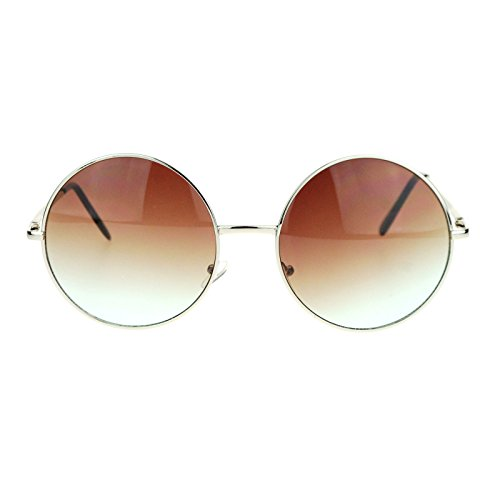 Hippie Retro Groovy Gradient Oversize Circle Lens Round Lennon Sunglasses Brown