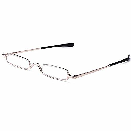 440112fb82da KAIBSEN® Metal Frame Rimmed Slim Reading Glasses - Classic Readers in Slim  Pen Clip Portable Hard Case Reading Glasses Portable Pocket Clip Aluminum  Case  ...