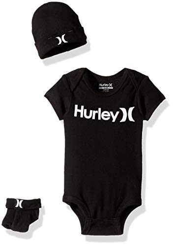 Hurley Baby Bodysuit Box Set, Black 6M (Hurley Embroidered Hat)